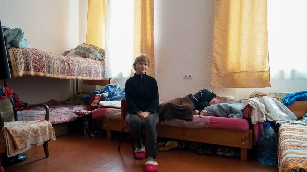 Olga Striczina from Luhansk with her son Denis (24) in their room at the Good Samaritan Mission in the village of Vynnyky close to Lviv