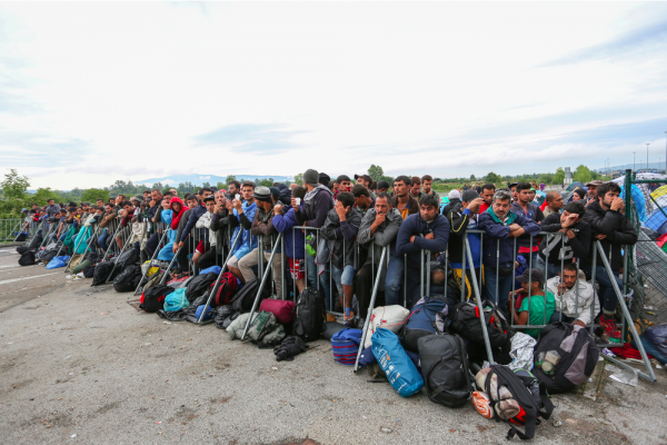A large group of Syrian refugees at the blocked slovenian border with Croatia on September 20th, 2015 in Slovenia. Source: Shutterstock