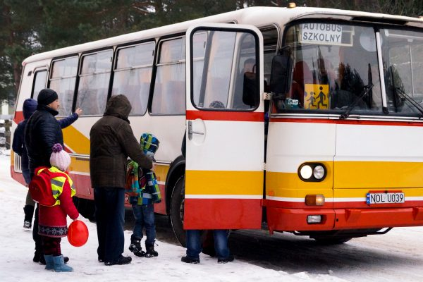 Schoolbus arriving at Rybaki Center to pick up pupils. In January 2015 Polish government carried out a one-off rescue operation of 179 Ukrainians of Polish descent and their spouses from theDonetsk and Luhansk provinces seized by the pro-Russian separatists. The risky evacuation took place amid high secrecy to avoid being targeted by rebels. The refugees were transported in buses to an airport in the eastern Ukrainian city of Kharkiv on January 10. Shortly after the operation a passenger bus was struck during fighting not far from Donetsk, killing 12 civilians. From Kharkiv, military planes flew the refugees to Poland where they were taken to two centres run by the Catholic charity Caritas in the northeastern villages of Rybaki and Lansk.