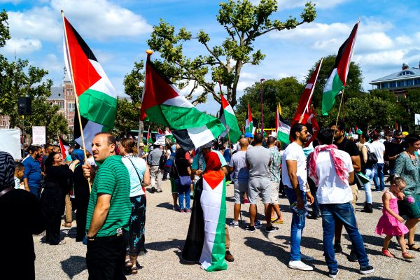 Around 1000 protesters gathered in front of the Rijksmuseum (Netherlands National Museum) in Amsterdam to demonstrate against Israel's attacks on Gaza.